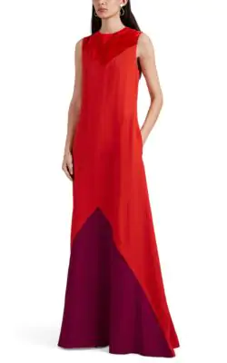 Givenchy Sleeveless Colorblocked Crepe Gown In Red
