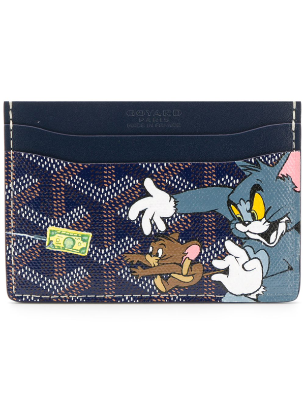 Pre-owned Goyard Vintage Tom And Jerry Print Card Holder In Blue