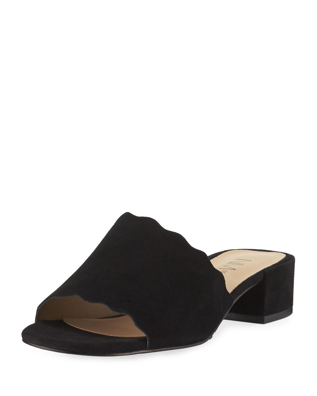 Neiman Marcus Howie Low-Heel Suede Slide Sandals, Black ...
