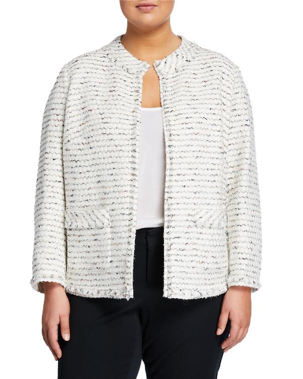 Lafayette 148 Kennedy Open-front Tweed Jacket, Plus Size In Multi