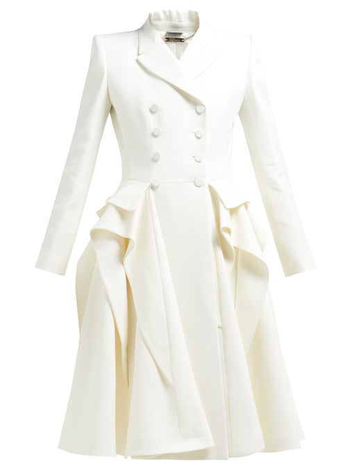 c47f5e50df955 Alexander Mcqueen Ruffle Double-Breasted Wool-Blend Coat In Ivory ...