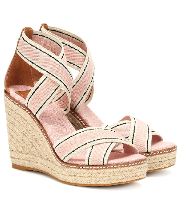 5401d0c8e Tory Burch Frieda Strappy Woven Wedge Espadrilles In Pink | ModeSens
