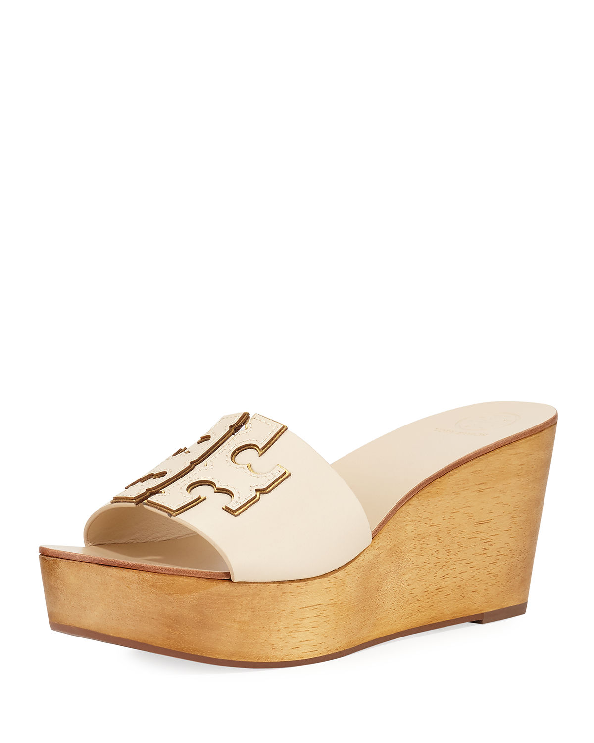 43a71352ed8c Tory Burch Ines 80Mm Wedge Slide Sandals In New Cream   Gold