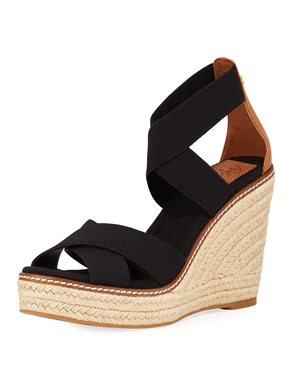 6b41ce666d2 Tory Burch Frieda Strappy Woven Wedge Espadrilles In Perfect Black ...