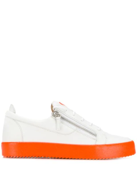 Giuseppe Zanotti Men's Neon-Sole Double-Zip Low-Top Sneakers In White