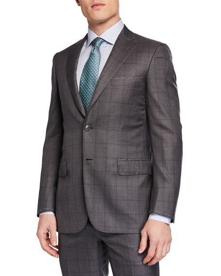 Brioni Men's Windowpane Two-Piece Suit In Gray