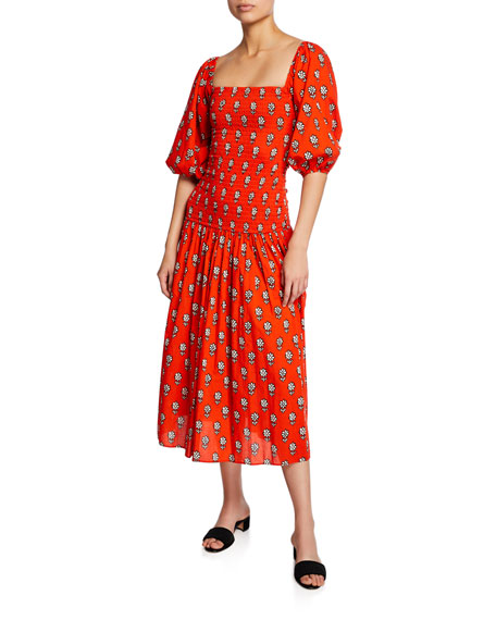 2f63f88c12 Rhode Harper Printed Square-Neck Dress In Red Pattern | ModeSens