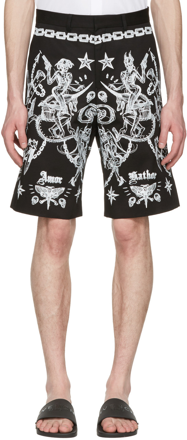 Givenchy Tattoo Printed Cotton Twill Shorts In Black