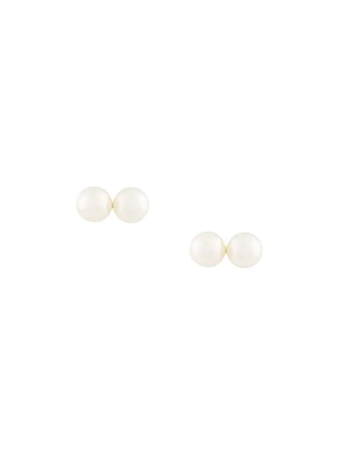 Natasha Schweitzer Sarah 2 Pearl Earrings In White