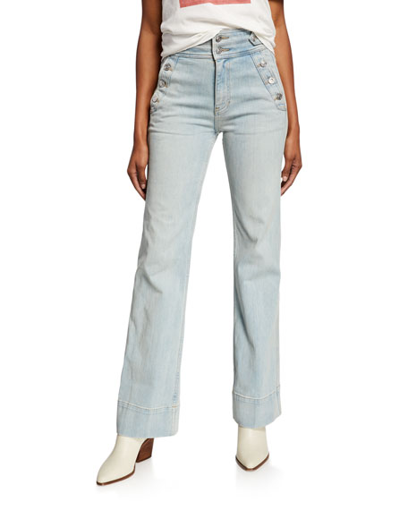 Current Elliott Current/elliott The Maritime Flared Jeans In Blue Wave