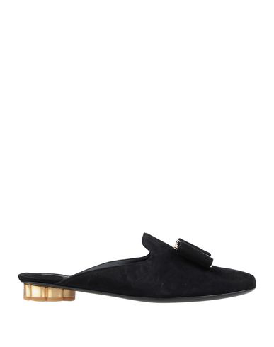 Salvatore Ferragamo Sciacca Flower Heel Velvet Backless Loafers In Black