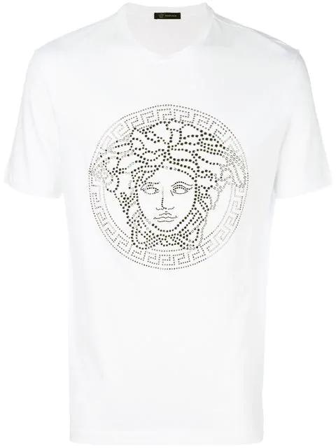 a7017a0b Versace Medusa Logo Cotton T-Shirt In White | ModeSens