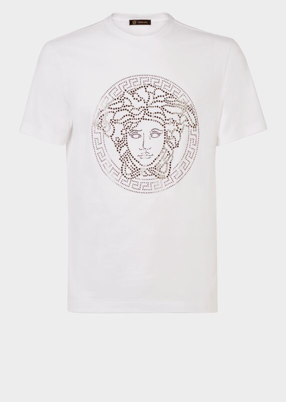 Versace T-Shirt In Cotone Con Medusa In White