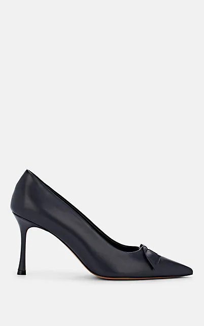 The Row Champagne Bow-Embellished Leather Pumps In Navy