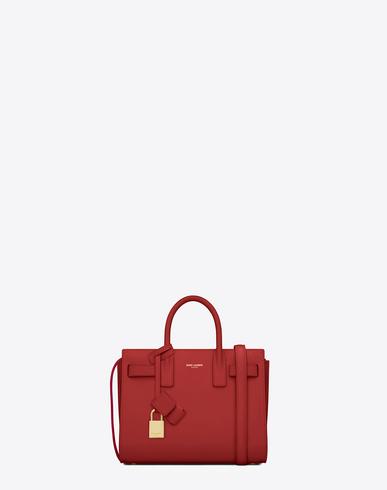 Saint Laurent Classic Nano Sac De Jour Bag In Lipstick Red  Grainy  Leather
