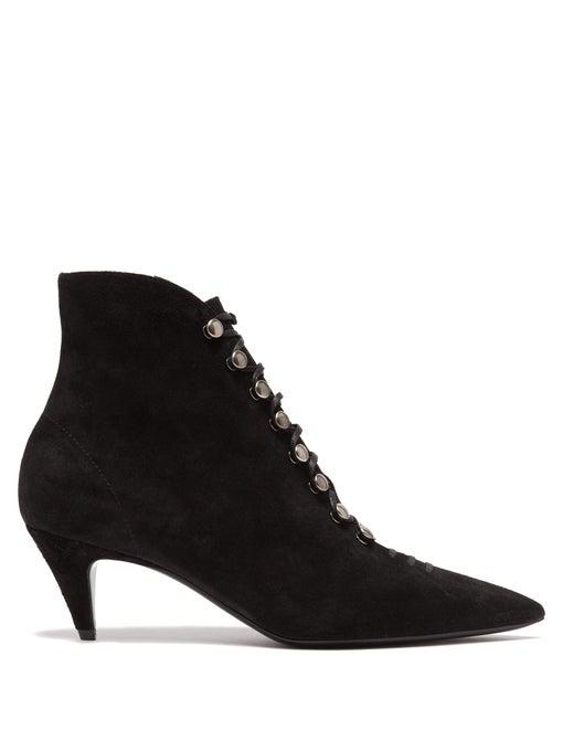 dee983c6f9a SAINT LAURENT. Saint Laurent - Ally Lace Up Suede Ankle Boots - Womens ...