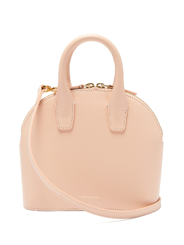 Mansur Gavriel Top Handle Mini Leather Bag In Pink