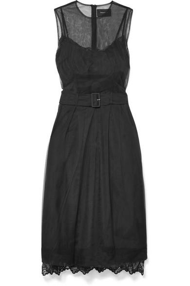 Simone Rocha Belted Tulle Midi Dress In Black