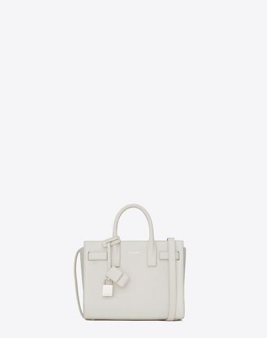 Saint Laurent Classic Small Sac De Jour Bag In Dove White Grained Leather