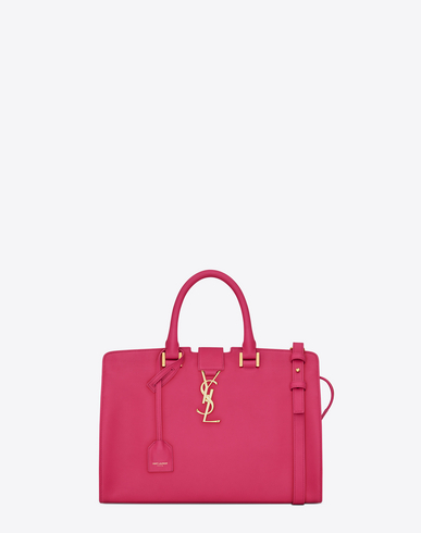 Saint Laurent Fucshia Leather Small 'Cabas Monogram' Convertible Tote In Fuchsia