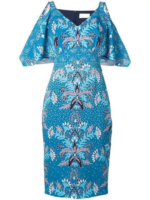 Peter Pilotto Kleid Mit Blumen-print In Blue