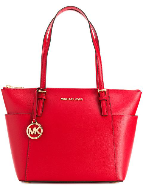 Michael Michael Kors Jet Set East West Top Zip Leather Tote In Red