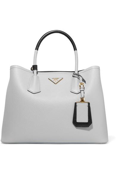 Prada Medium Saffiano Greca Paradigm Tote Bag In Gray