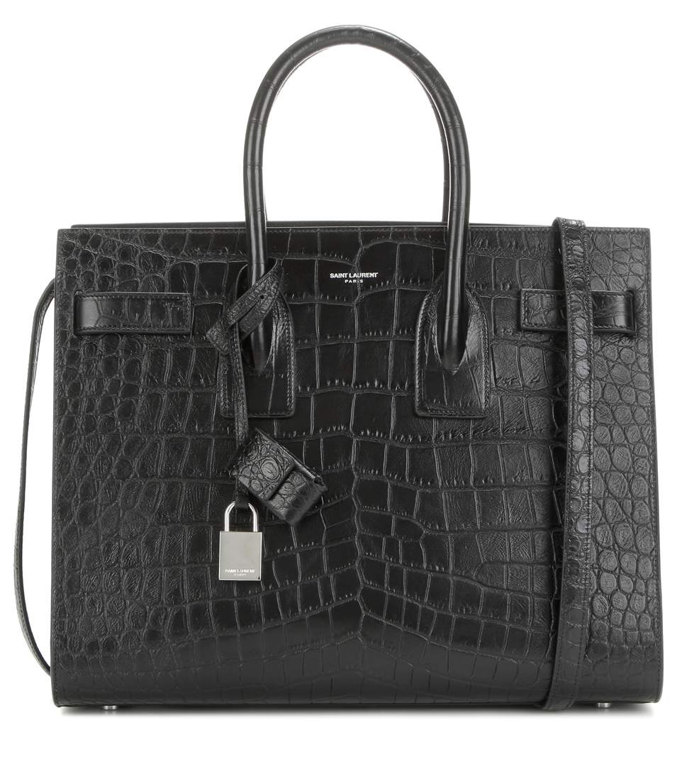 Saint Laurent Classic Toy Sac De Jour Bag In Black Crocodile Embossed Leather In Eero