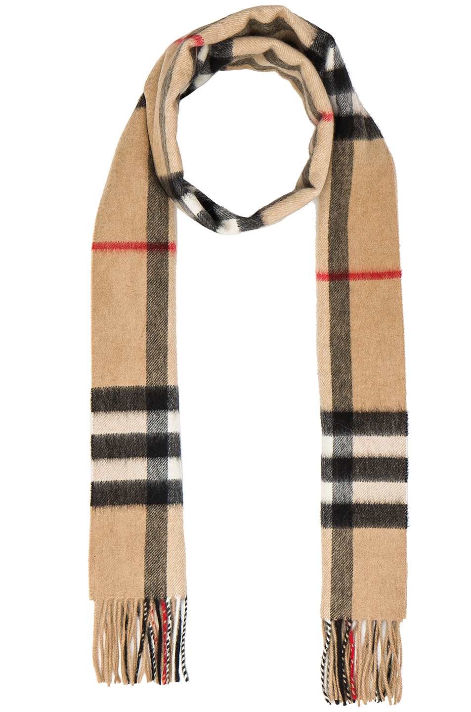 Burberry Giant Check Cashmere Scarf In Neutrals, Checkered & Plaid. In Camel