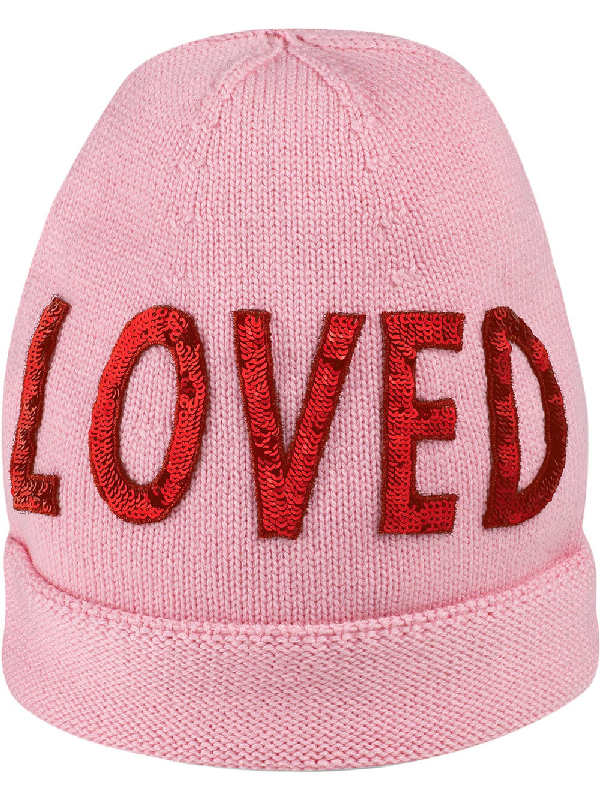 cb5861c620790 Gucci Loved Sequin-Embroidered Wool Hat In Pink
