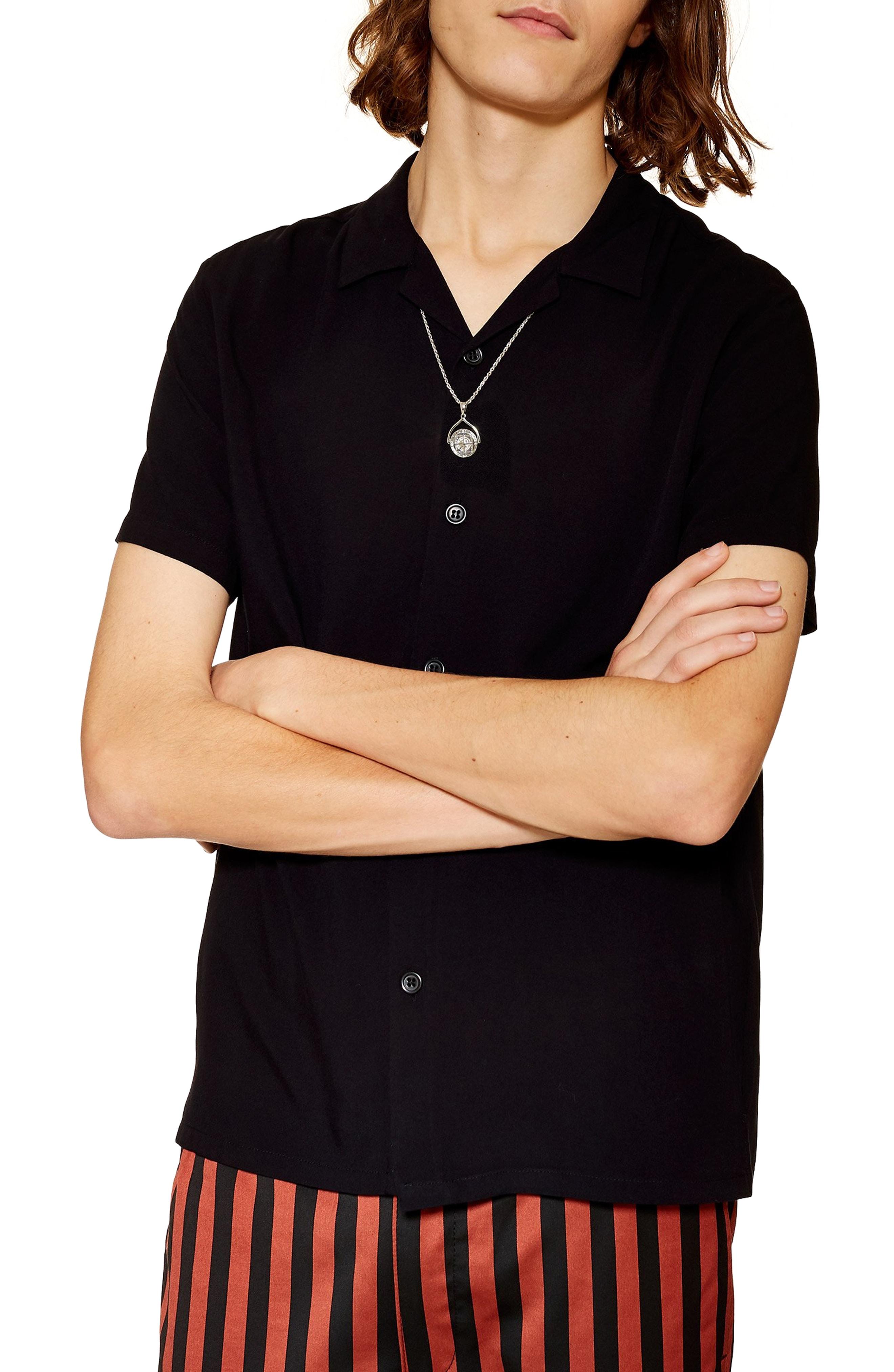 aa43945afce Topman Revere Shirt In Black