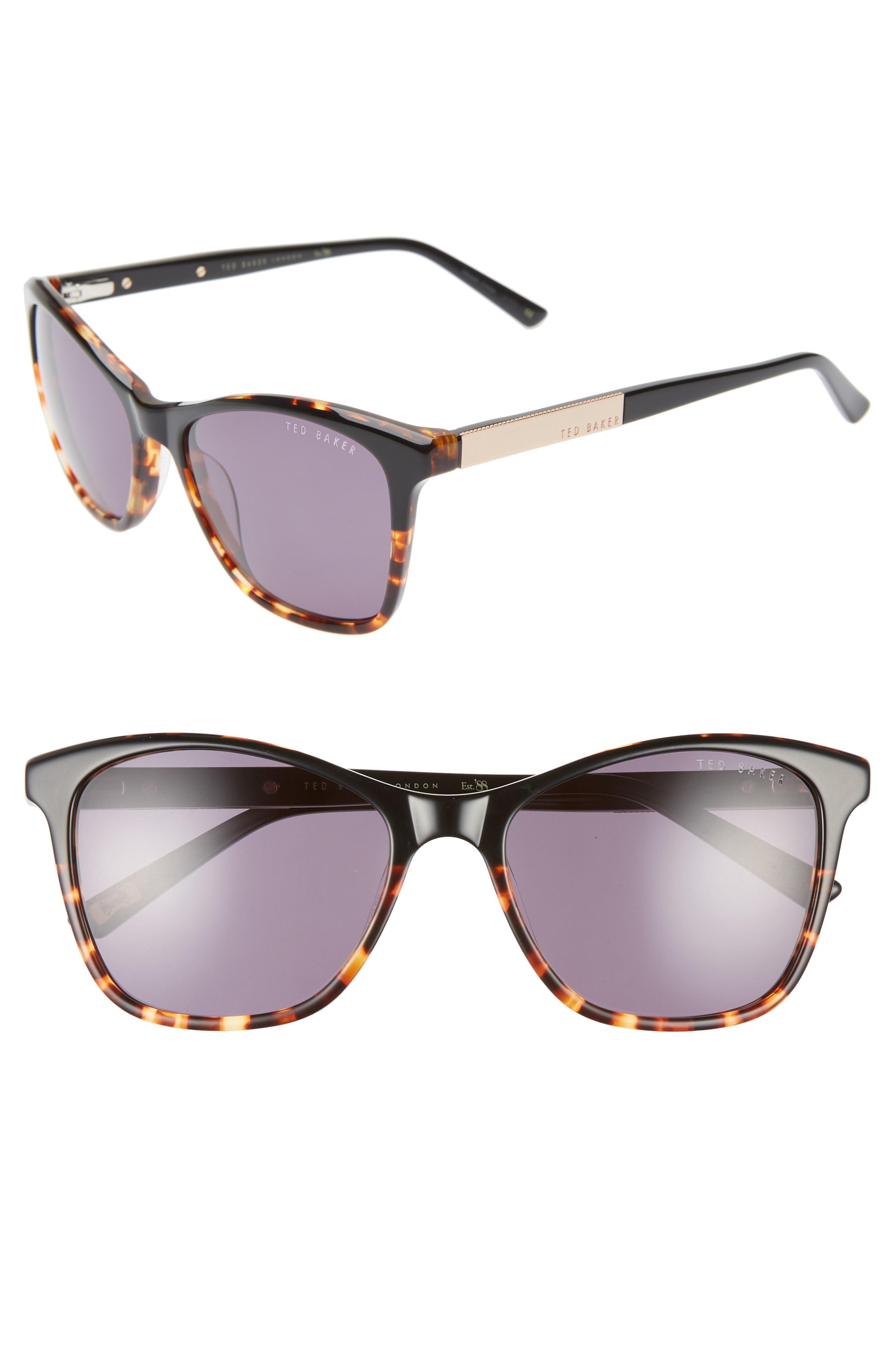 5014d52b86064 Ted Baker 55Mm Square Cat Eye Sunglasses - Black Havana  Gold  Purple