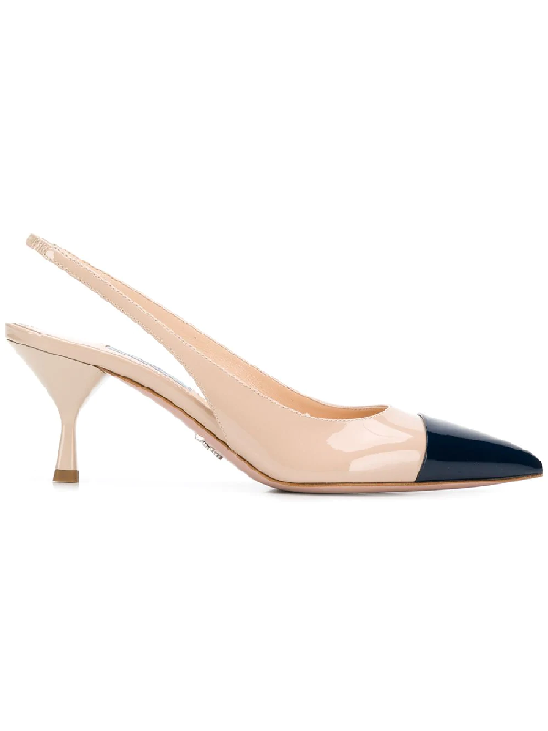 62222b004 Prada 65 Two-Tone Patent-Leather Slingback Pumps In Neutrals | ModeSens