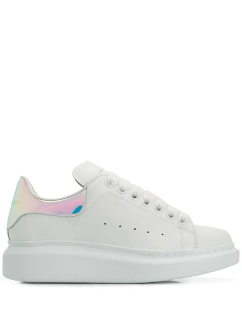 Alexander Mcqueen Iridescent-Trimmed Leather Exaggerated-Sole Sneakers In White