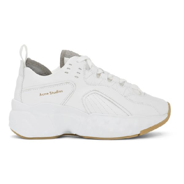 Acne Studios Rockaway Leather Sneakers In White In White/white