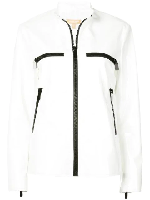 Michael Kors Zippered Leather Surf Jacket In White