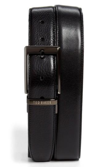 Ted Baker Stitched Reversible Belt In Black/ Brown