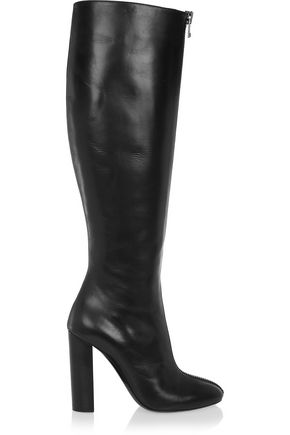 Tom Ford Woman Zip-Detailed Leather Knee Boots Black
