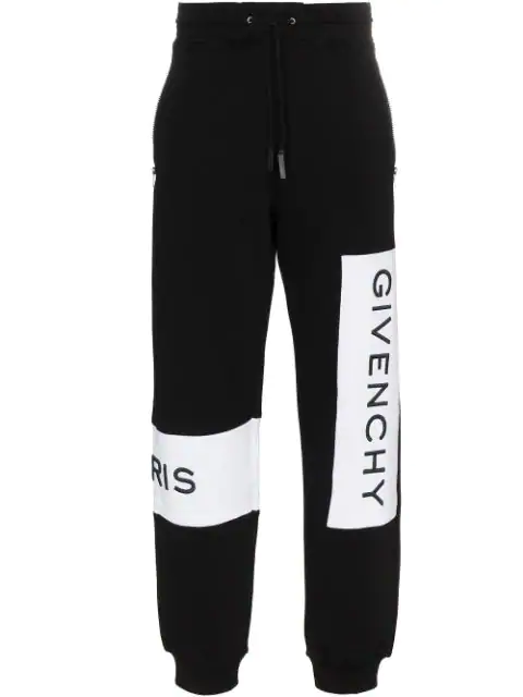 Givenchy Embroidered Logo Cotton Tracksuit Bottoms In Black