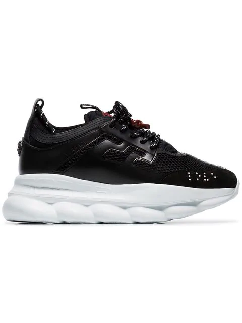Versace Black Chain Reaction Mesh Leather Sneakers