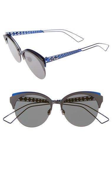 80d8d7ab224c8 Dior Ama Club/S Cat-Eye Metal Sunglasses' In Matte Black/ Blue ...