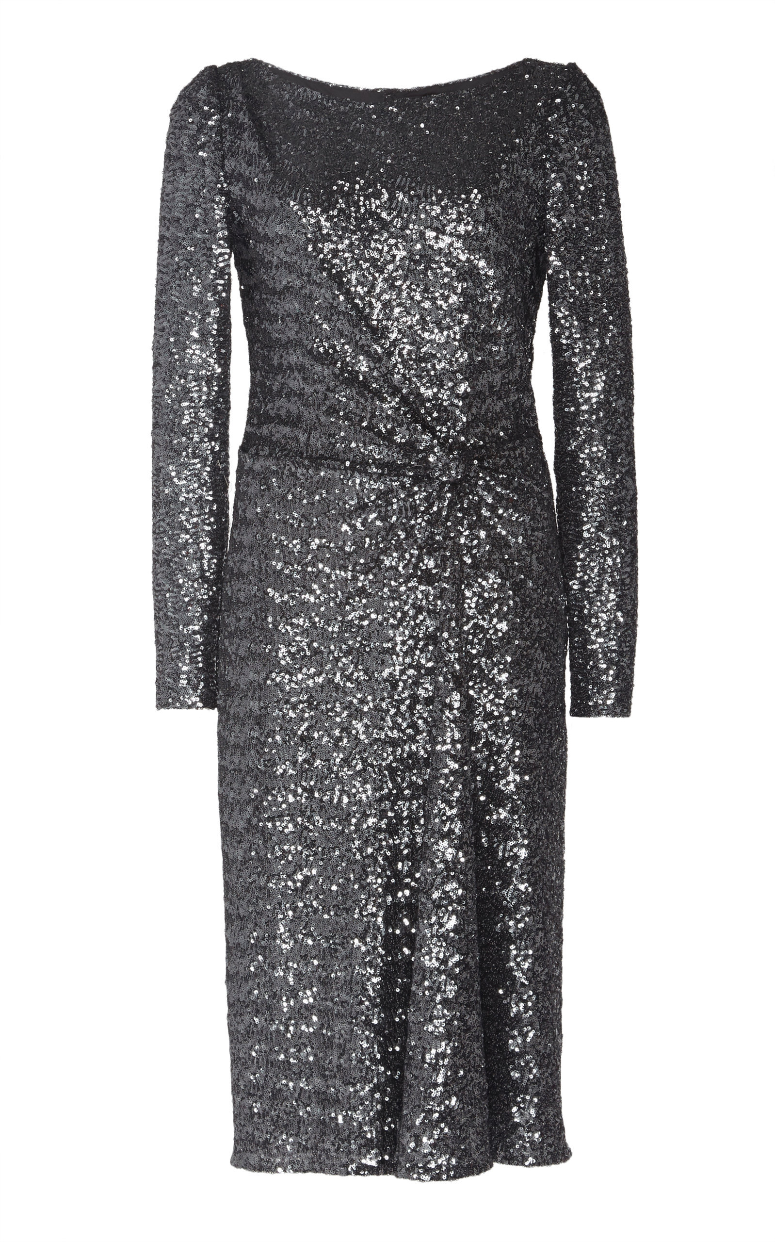 Jenny Packham Alisse Gathered Waist Sequin Dress In Grey