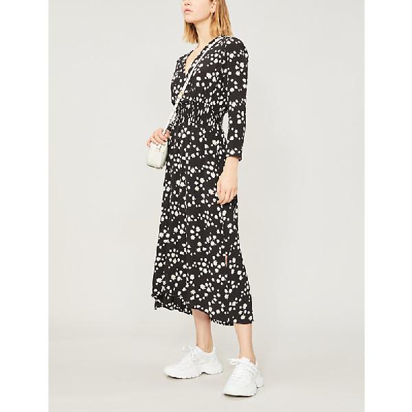 4b1e4c5f1446 Maje Wrap-Effect Floral-Print Crepe De Chine Midi Dress In Black ...