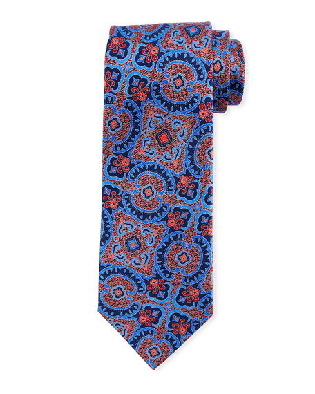 Ermenegildo Zegna Medium Paisley Silk Tie, Red/Blue