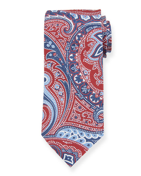 Ermenegildo Zegna Paisley Silk Tie, Red