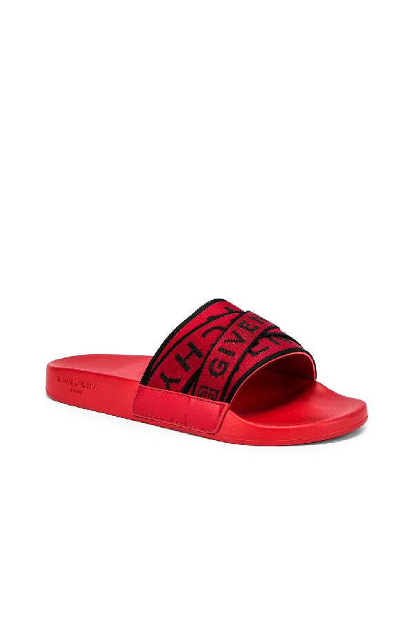 Givenchy Men's Multi Logo-Webbing Rubber Slide Sandals, Red