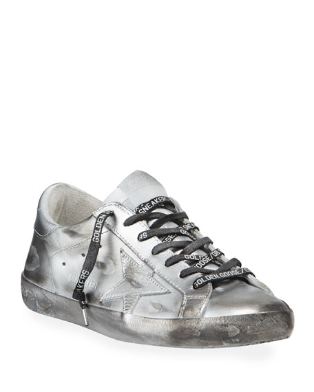 Golden Goose Men's Superstar Metallic Leather Sneakers In Silver