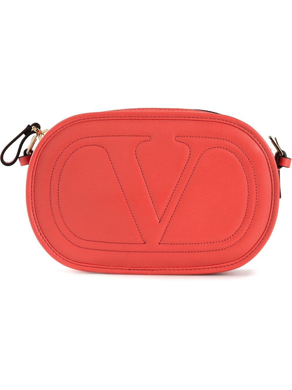 Valentino Stitched V Crossbody Bag In Orange
