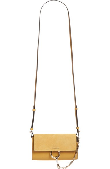 ChloÉ Faye Suede/leather Wallet-on-a-strap, Light Yellow In Dusty Yellow