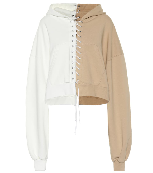 Ben Taverniti Unravel Project Lace-up Contrast-panel Cotton-jersey Hoody In Neutrals